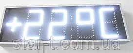 Часы-термометр светодиодные яркие белые. Цифра 150 мм в один ряд.