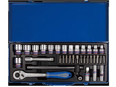 Набор торцевых головок с принадлежностями 1/2', двенадцатигранные, 10-32 мм, 35 предметов, в комплек KINGTONY