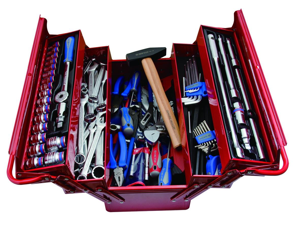Набор инструментов универсальный, раскладной ящик, 99 предметов KINGTONY