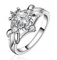 Кольцо цветок в ромбике циркон покрытие 925 серебро