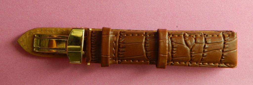 Ремешок кожаный MODENO Клипса (ИСПАНИЯ) 20мм, Клипса коричневый. Золото