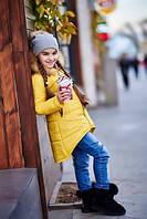 Куртка детская удлинённая жёлтая Шанель KL/-203