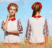 Праздничная блузка с украинской вышивкой черное-красные розы, фото 1