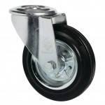 Колеса поворотные из стандартной черной резины Norma с отверстием,с ролик.подш.Ø75-200мм