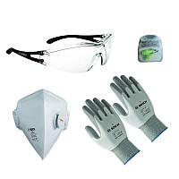 Защитные очки, маска, беруши, перчатки Bosch набор 2, 2607017183