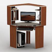 Угловой компьютерный стол с полками, Тиса-19, 90*90, яблоня-локарно + Ваниль