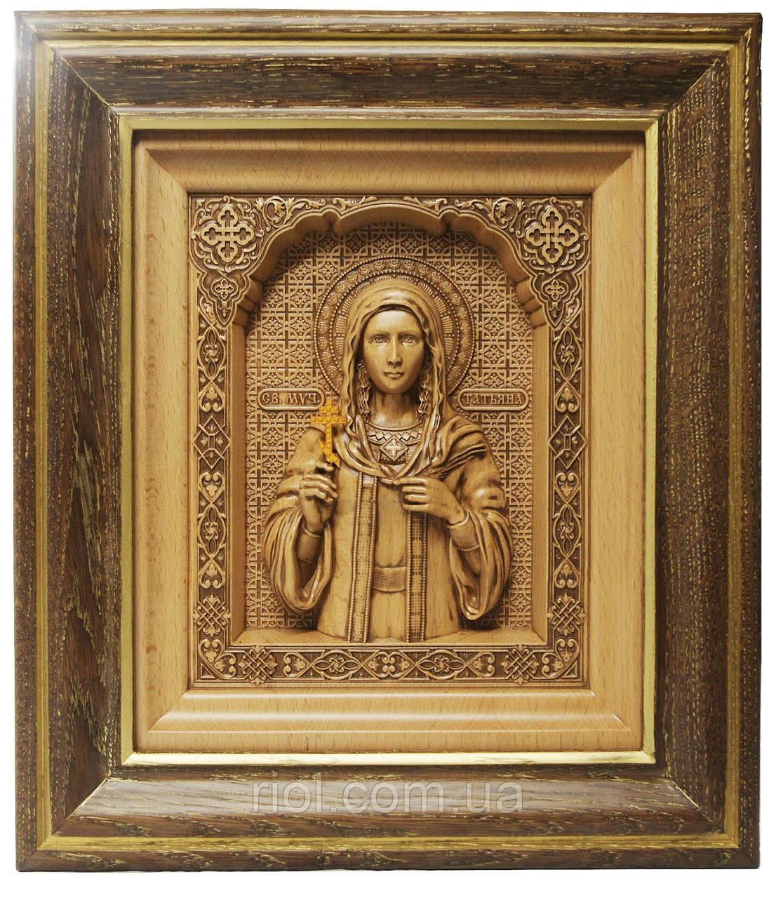 Резная икона Святой мученицы Татьяны с ажурной рамкой