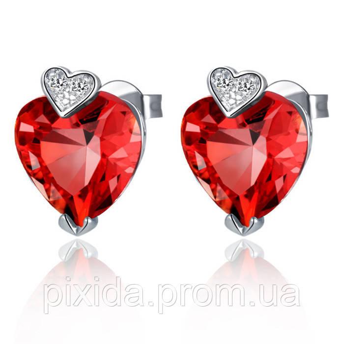 Сережки сердце два цвета покрытие 18К платина