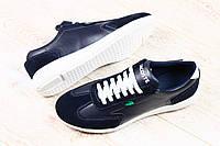 Женские кроссовки темносиние с комбинированной кожи Lacoste с белыми шнурками и белой подошве