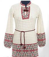 Женское вышитое платье из льна красный, Лен, Длинный, 44