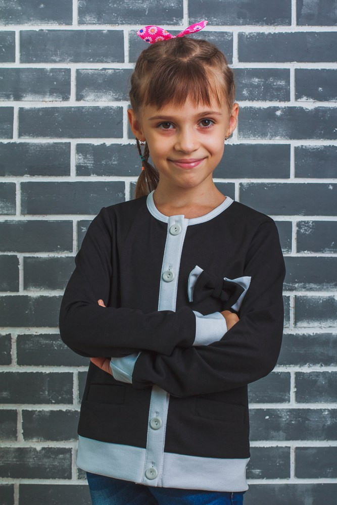 """Жакет, пиджак для девочки """"Бантик""""  черный"""