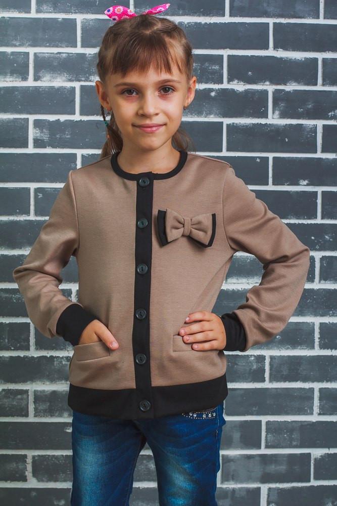 """Жакет, пиджак для девочки """"Бантик""""  бежевый"""