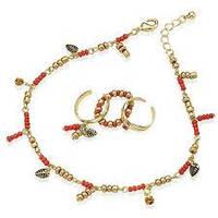 """Набор бижутерии """" Бали""""  браслет на ногу и кольца, Bologna toe ring and anklet set, 52632"""