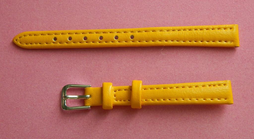 Ремешок кожаный LUX-PL (Польша)10 мм, желтый