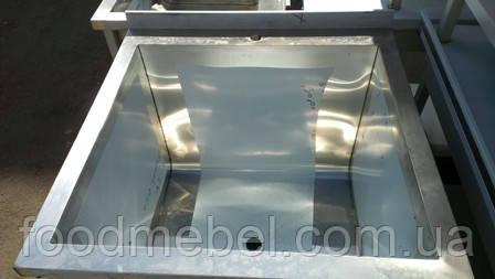 Ванна моечная односекционная промышленная 900х900х850 мм из нержавеющей стали для столовой
