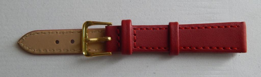 Ремешок кожаный LUX-PL (Польша) 14 мм, красный