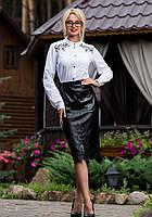 Женская стильная черная юбка за колено 6784