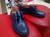 Стильные кожаные туфли на низком ходу VIKTTORIO синие.
