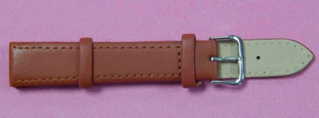Ремешок кожаный LUX-PL (Польша) 18 мм, яркий коричневый