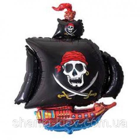 """Фольгированный шарик с гелием """"Пиратский Корабль"""" черный на День рождения , фото 2"""
