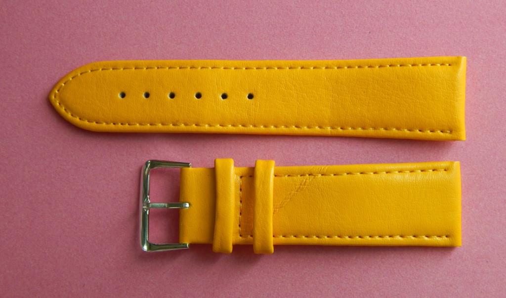 Ремешок кожаный LUX-PL (Польша) 22 мм, желтый