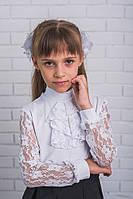 Блузка для девочки ажурная с жабо, белая, фото 1