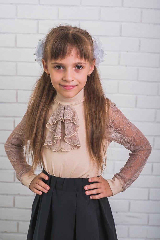 Блузка для девочки ажурная с жабо, беж