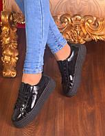 Женские черные лаковые кроссовки
