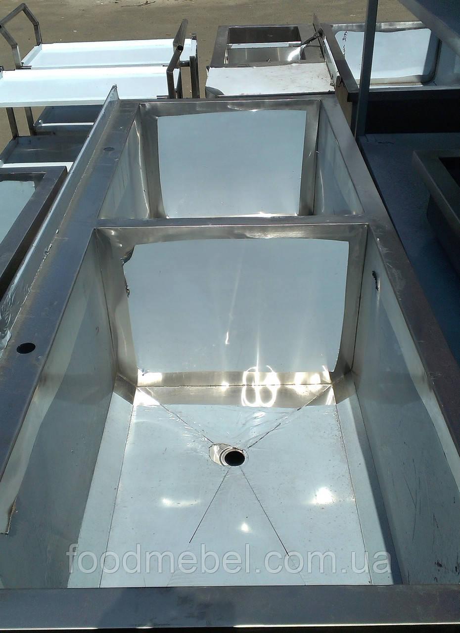 Ванна моечная двухсекционная 1400х900 из нержавеющей стали для столовой