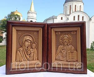 """Різьблені ікони Ісуса Христа та Казанської Божої Матері """"Вінчальна пара"""" з натурального дерева"""