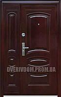 Уличные полуторные входные двери ААА 021 автолак вишня