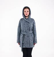 Пальто женское зимнее с капюшоном из шерсти-букле