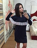 Платье трикотажное с пелериной и кружевом 3286 (НАТ)