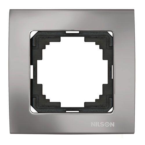 Nilson Touran Lux Одинарная Рамка Зеркальный Антрацит (FME)