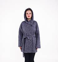 Пальто женское зимнее из шерсти с капюшоном Д 903 синее