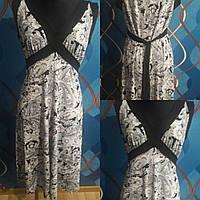 Черно-белое платье большого размера, р.54