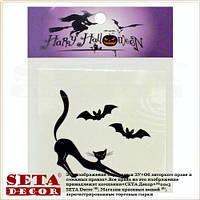 """Временные мини татуировки на тело """"Черная кошка"""" (tattoo наклейка) body, face art decor на Halloween"""