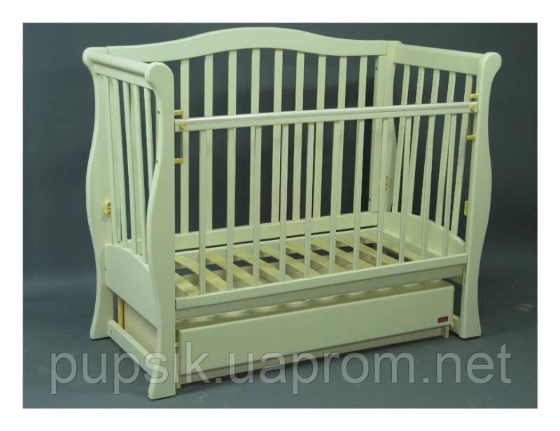 Кроватка детская Viva Premium (ящик + маятник) ваниль, Ласка-М