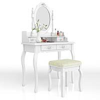 Туалетный столик с косметическим зеркалом и табуреткой Mirka