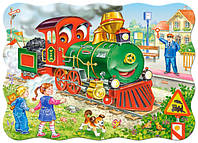 Пазл Зеленый локомотив 30 деталей В-03433