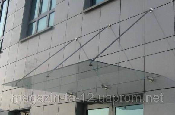 Стеклянный козырек с закаленного стекла