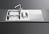 Полуторная полированная мойка, сталь, крыло с рисунком Smeg LTS102D-2, Италия