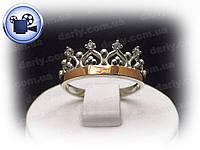 Серебряное кольцо с золотыми накладками Корона Premium., фото 1
