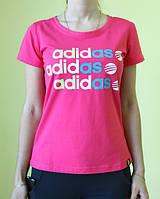 Футболка женская розовая Adidas (201610) код 189д