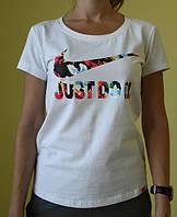 Женская футболка короткий рукав Nike (1061) белая код 210Д