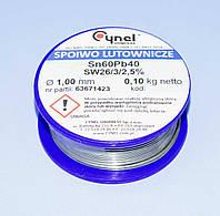 Припой с флюсом Cynel d1.0мм Sn60Pb40 бухта-0,10кг  LUT0007-100