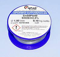 Припой c флюсом Cynel d1.5мм Sn60Pb40 бухта-0,10кг  LUT0009-100