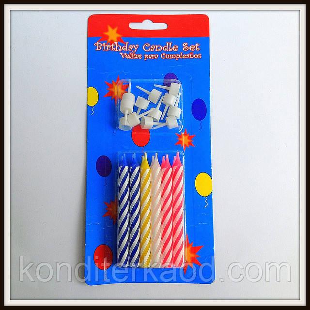 Свечи витые с подставками (12 шт)