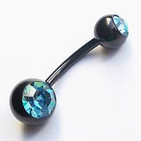Для пирсинга пупка с двумя кристаллами. Медицинская сталь, титановое покрытие. бирюзовый