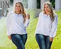Элегантная блузка из гипюра и штапеля белого цвета